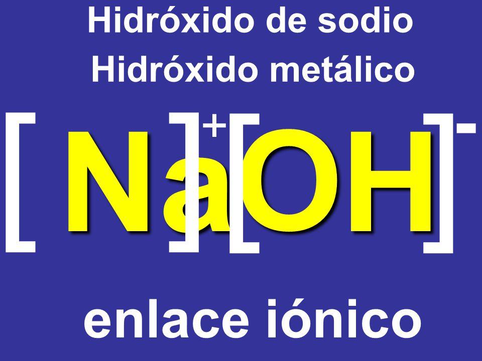 Hidróxido de sodio Hidróxido metálico [ ] [ ] - Na + O H enlace iónico